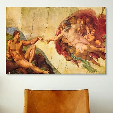 iCanvas 'Creation of Adam' by Michelangelo Painting Print on Canvas; 12'' H x 18'' W x 0.75'' D