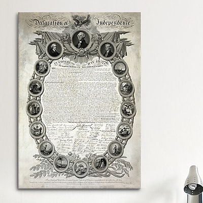 iCanvas Political Declaration of Independence Graphic Art on Canvas; 40'' H x 26'' W x 0.75'' D