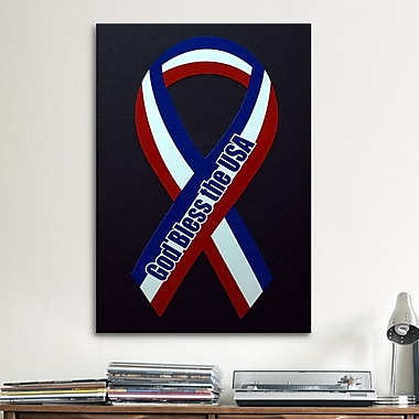iCanvas Political God Bless The USA Ribbon Graphic Art on Canvas; 40'' H x 26'' W x 1.5'' D