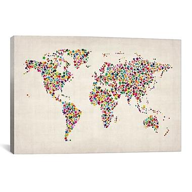 iCanvas ''Stars World Map'' by Michael Thompsett Graphic Art on Canvas; 26'' H x 40'' W x 1.5'' D