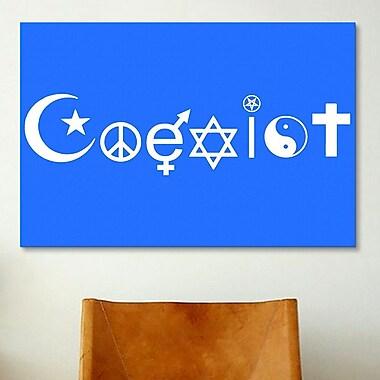 iCanvas Political Coexist Symbols Graphic Art on Canvas; 26'' H x 40'' W x 0.75'' D