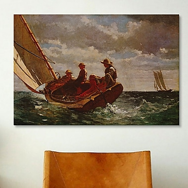 iCanvas 'Breezing Up' by Winslow Homer Painting Print on Canvas; 18'' H x 26'' W x 1.5'' D