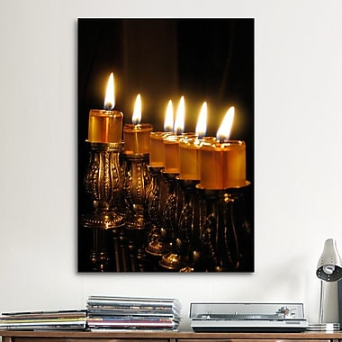 iCanvas Jewish Menorah Photographic Print on Canvas; 40'' H x 26'' W x 1.5'' D