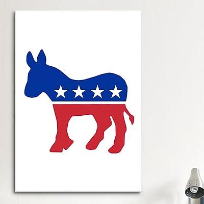 iCanvas Political Democratic Party Donkey Symbol Graphic Art on Canvas; 26'' H x 18'' W x 1.5'' D