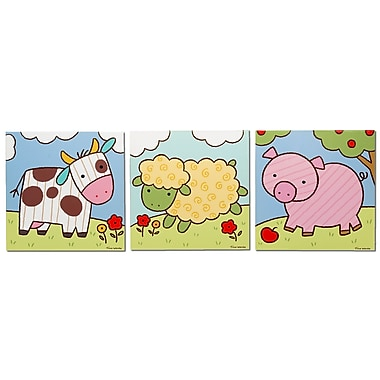 Metal Art Studio 'Farm Animals' 3 Piece Graphic Art Print Set on Metal