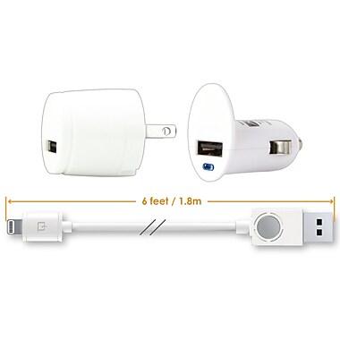 Qmadix - Chargeur de voyage USB avec connecteur Lightning, paquet triple
