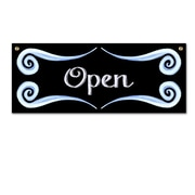 "Open /Close Sign, 15"" x 6"" x 1/8, Black and Blue Swirls"