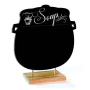 "Daily Soup Sign with Natural Wood Base, 12"" x 12"", Black Smudge Free Sign"