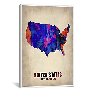 iCanvas USA Watercolor Map I by Naxart Graphic Art on Wrapped Canvas; 40'' H x 26'' W x 0.75'' D