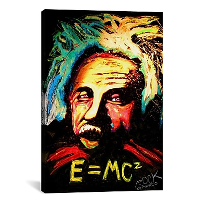 iCanvas Einstein Signed by Rock Demarco Painting Print on Wrapped Canvas; 26'' H x 18'' W x 0.75'' D
