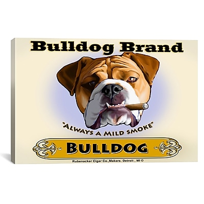 iCanvas Brian Rubenacker Bulldog Cigar Graphic Art on Wrapped Canvas; 41'' H x 61'' W x 1.5'' D