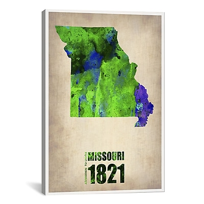 iCanvas Naxart Missouri Watercolor Map Graphic Art on Wrapped Canvas; 40'' H x 26'' W x 0.75'' D