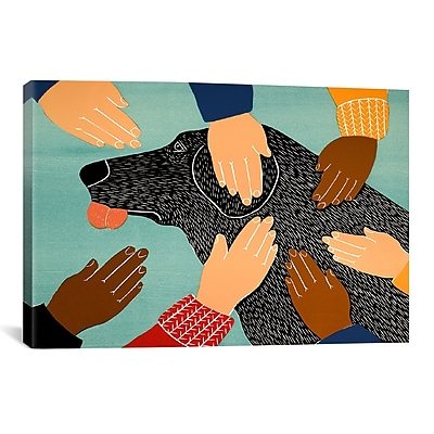 iCanvas Getting Petted Black by Stephen Huneck Painting Print on Wrapped Canvas