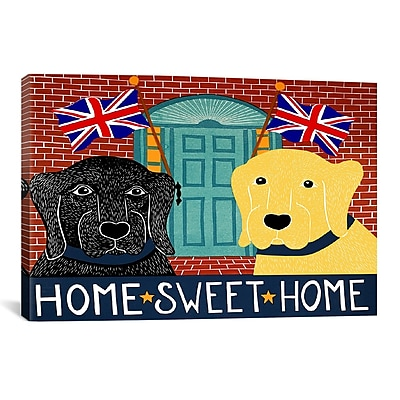 iCanvas Home Sweet Home Brit Black by Stephen Huneck Painting Print on Wrapped Canvas