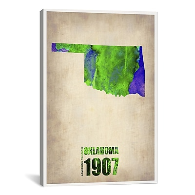 iCanvas Naxart Oklahoma Watercolor Map Graphic Art on Wrapped Canvas; 61'' H x 41'' W x 1.5'' D