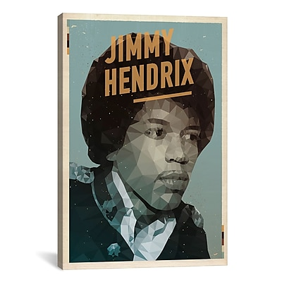iCanvas American Flat Hendrix Graphic Art on Wrapped Canvas; 40'' H x 26'' W x 0.75'' D