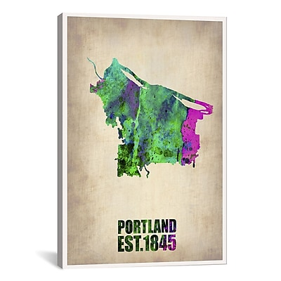iCanvas Portland Watercolor Map by Naxart Graphic Art on Wrapped Canvas; 18'' H x 12'' W x 0.75'' D