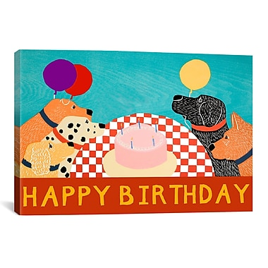 iCanvas Happy Birthday Large by Stephen Huneck Painting Print on Wrapped Canvas