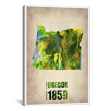 iCanvas Oregon Watercolor Map by Naxart Graphic Art on Wrapped Canvas; 61'' H x 41'' W x 1.5'' D