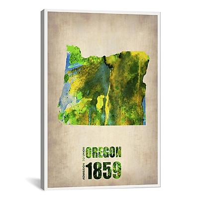 iCanvas Oregon Watercolor Map by Naxart Graphic Art on Wrapped Canvas; 41'' H x 27'' W x 1.5'' D