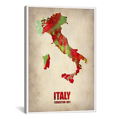 iCanvas Italy Watercolor Map Print by Naxart Graphic Art on Canvas; 40'' H x 26'' W x 0.75'' D