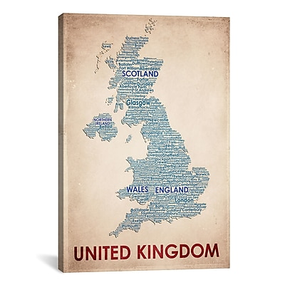 iCanvas United Kingdom Graphic Art on Wrapped Canvas; 18'' H x 12'' W x 0.75'' D
