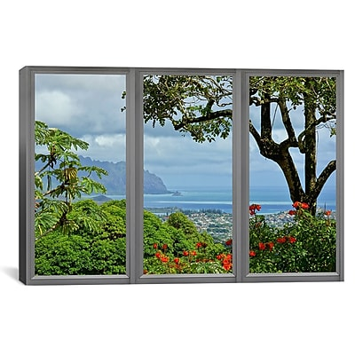 iCanvas Hawaii Window View Photographic Print on Wrapped Canvas; 27'' H x 41'' W x 1.5'' D