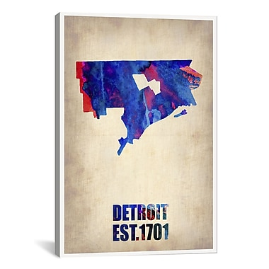 iCanvas Detroit Watercolor Map by Naxart Graphic Art on Wrapped Canvas; 40'' H x 26'' W x 0.75'' D