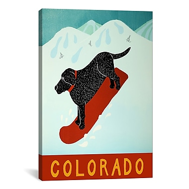 iCanvas Colorado Snowboard Black by Stephen Huneck Graphic Art on Wrapped Canvas