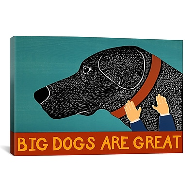 iCanvas Stephen Huneck Big Dogs Are Great Black Painting Print on Wrapped Canvas
