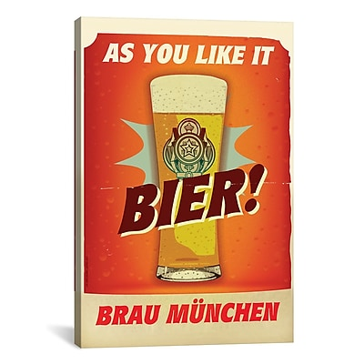 iCanvas American Flat Bier Brau M nchen Vintage Advertisement on Wrapped Canvas