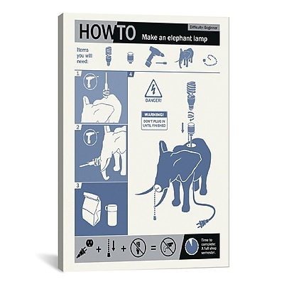 iCanvas How to Build an Elephant Lamp by Steve Thomas Graphic Art on Wrapped Canvas