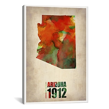 iCanvas Naxart Arizona Watercolor Map by Naxart Graphic Art on Wrapped Canvas