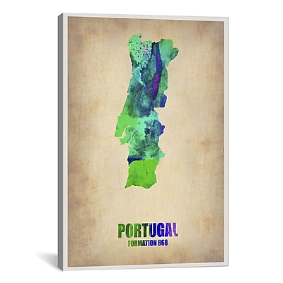 iCanvas Portugal Watercolor Map by Naxart Graphic Art on Wrapped Canvas; 61'' H x 41'' W x 1.5'' D