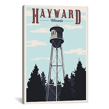iCanvas Hayward Water Tower Graphic Art on Wrapped Canvas; 18'' H x 12'' W x 0.75'' D