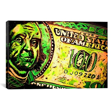 iCanvas Rock Demarco 100 Bill 003 Graphic Art on Wrapped Canvas; 18'' H x 26'' W x 0.75'' D