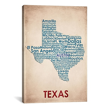 iCanvas Texas Graphic Art on Wrapped Canvas; 26'' H x 18'' W x 0.75'' D