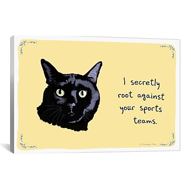 iCanvas Team Player Cat Canvas Print Wall Art; 26'' H x 40'' W x 0.75'' D