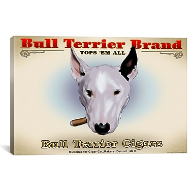 iCanvas Brian Rubenacker Bull Terrier Cigar by Brian Rubenacker Graphic Art on Wrapped Canvas