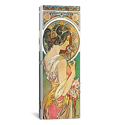iCanvas Alphonse Mucha Polyanthus, 1899 Graphic Art on Wrapped Canvas; 12'' H x 36'' W x 0.75'' D