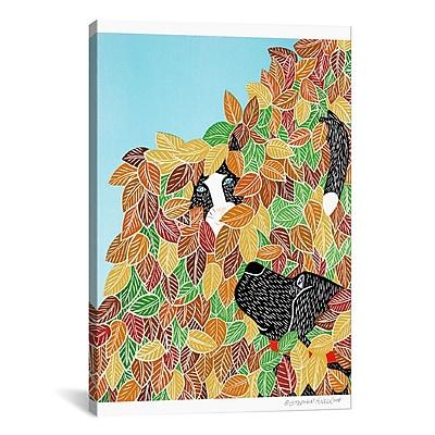 iCanvas Dog and Cat Autumn Canvas Print Wall Art; 61'' H x 41'' W x 1.5'' D