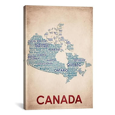 iCanvas American Flat Canada Graphic Art on Wrapped Canvas; 40'' H x 26'' W x 0.75'' D