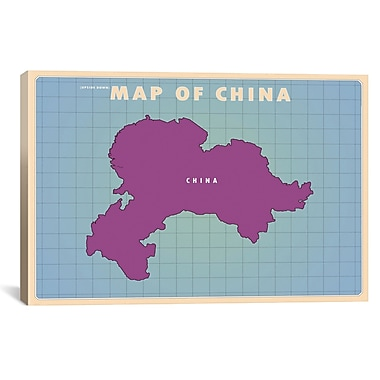 iCanvas Upside Down China Graphic Art on Wrapped Canvas; 12'' H x 18'' W x 0.75'' D
