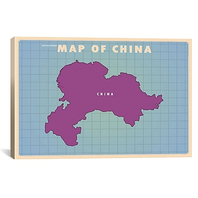iCanvas Upside Down China Graphic Art on Wrapped Canvas; 26'' H x 40'' W x 0.75'' D