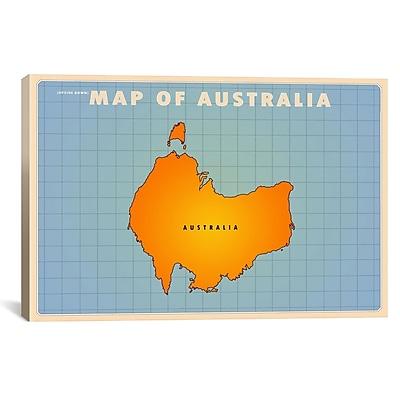 iCanvas Upside Down Australia Graphic Art on Wrapped Canvas; 12'' H x 18'' W x 0.75'' D