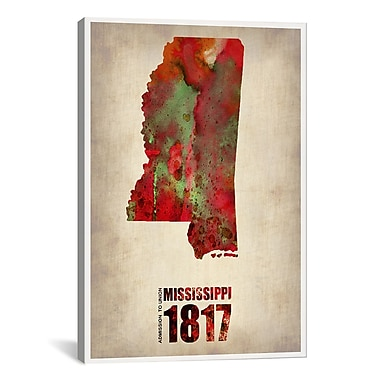 iCanvas Mississippi Watercolor Map by Naxart Graphic Art on Canvas; 41'' H x 27'' W x 1.5'' D