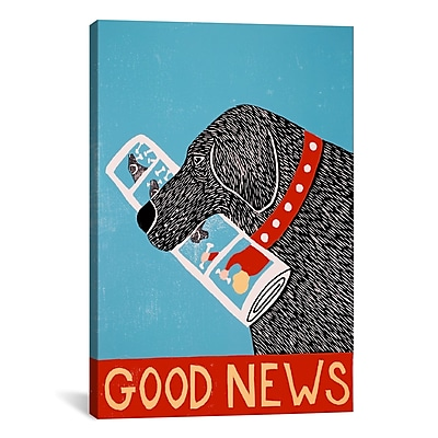 iCanvas Good News Dog Black by Stephen Huneck Painting Print on Wrapped Canvas