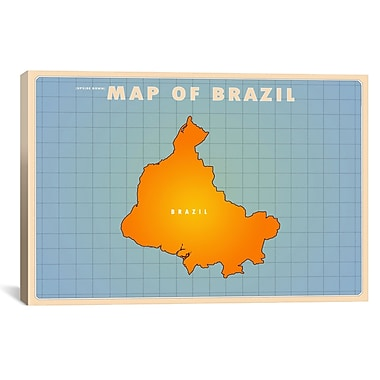iCanvas Upside Down Brazil Graphic Art on Wrapped Canvas; 27'' H x 41'' W x 1.5'' D