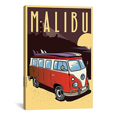 iCanvas American Flat Malibu Vintage Advertisement on Wrapped Canvas; 60'' H x 40'' W x 1.5'' D