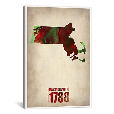 iCanvas Massachusetts Watercolor Map by Naxart Graphic Art on Wrapped Canvas